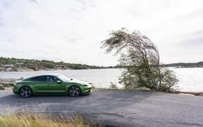 Картинка озеро, Porsche, вид сбоку, Turbo S, 2020, Taycan
