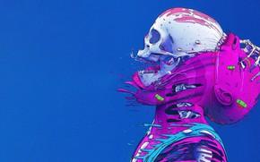 Картинка Цвет, Череп, Стиль, Кожа, Кости, Fantasy, Style, Color, Skull, Фантастика, Fiction, Скелет, Illustration, Skin, Sci-Fi, …