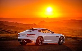 Картинка закат, Jaguar, 2018, F-Type, Chequered Flag