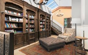 Картинка книги, кресло, кабинет, шкафы