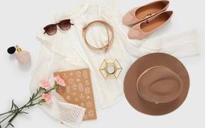 Картинка стиль, шляпа, очки, туфли, блузка