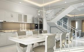 Картинка дизайн, дом, стол, мебель, стулья, интерьер, кухня, столовая