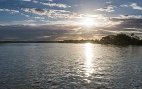 Картинка небо, солнце, озеро, блики