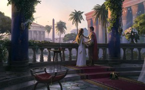 Картинка девушка, улица, Рим, мужчина, влюбленные, архитектура, колонна