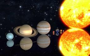 Картинка солнце, планеты, солнечная система, масштаб