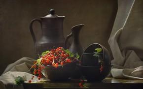 Картинка ягоды, посуда, ткань, кувшин, натюрморт, красная, смородина, миски, керамика