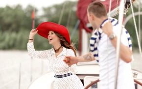 Картинка девушка, любовь, отдых, пара, парень, прогулка на яхте