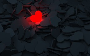 Картинка любовь, красный, серый, сердце, сердечки, светится, 3д графика