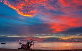 Картинка песок, море, волны, пляж, лето, небо, закат, катер, summer, beach, sky, sea, sunset, pink, seascape, …