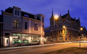 Картинка улица, вечер, фонари, Нидерланды, Haarlem