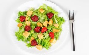 Картинка листья, ягоды, клубника, вилка, персик, салат