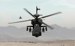 Картинка песок, горы, пара, полёт, вертолёт, ударный, разведывательный, OH-58 Kiowa, AH-64D Apache