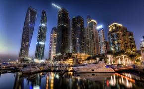 Картинка ночь, огни, Дубай, skyline, ОАЭ