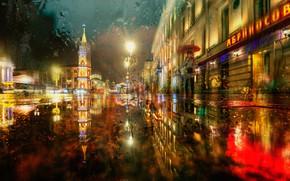 Картинка зима, дорога, город, дождь, улица, здания, вечер, освещение, Ed Gordeev, Гордеев Эдуард, Эдуард Гордеев, Эд …