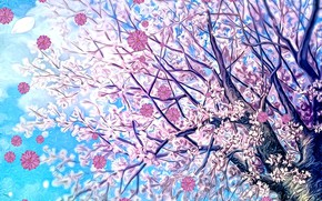 Картинка цветы, цветущая сакура, рендеринг, фон, арт, картинка, весенний ветер, ветви, дерево, фантазия, небо, весна