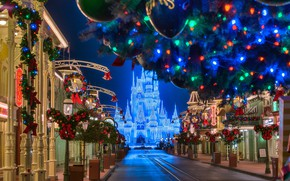 Картинка дорога, украшения, ночь, город, замок, праздник, здания, дома, Флорида, освещение, Рождество, фонари, США, Орландо, парк …