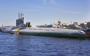 Картинка город, океан, подводная лодка