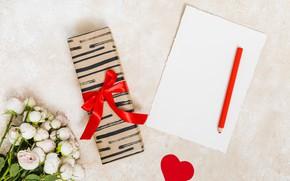 Картинка сердечко, карандаш, букет, подарок, розы, листок