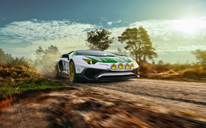 Картинка дорога, скорость, Lamborghini, грунтовка, Aventador, LP750-4 SV, Alitalia Tribute, THOMAS VAN ROOIJ