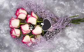 Картинка цветы, розы, букет, розовые, pink, flowers, beautiful, roses
