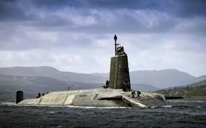 Картинка Море, Горы, Волны, Тучи, Флот, АПЛ, ПЛАРБ, Royal Navy, Великобриания, HMS Vigilant
