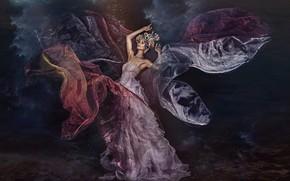 Картинка взгляд, девушка, поза, модель, платье, Ruth Chornolutskyy