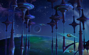 Картинка космос, Look out Jetsons, Animated space, A whimsical piece, fractal manipulation