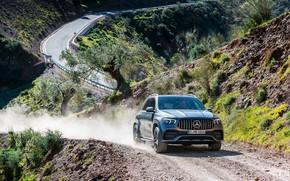 Картинка дорога, машина, асфальт, фары, Mercedes-Benz, бездорожье, кроссовер, Mercedes-AMG, GLE 53, 4Matic+