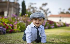 Картинка улыбка, мальчик, галстук, кепка