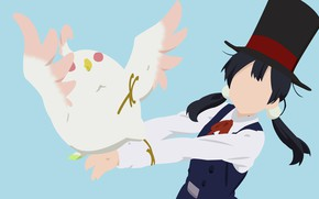 Картинка минимализм, попугай, девочка, Лавочка Тамако, представление, Tamako Market