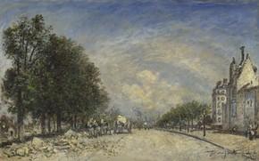 Картинка Ян Бартолд Йонгкинд, картина, Бульвар Пор-Руаяль. Париж, городской пейзаж, Johan Barthold Jongkind