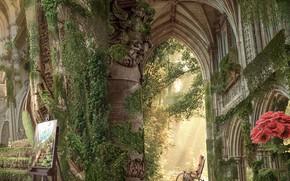 Картинка цветы, замок, руины, коридоры