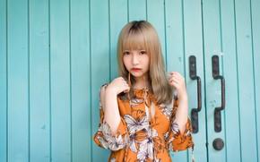 Картинка взгляд, девушка, ворота, азиатка, милашка, очарованье