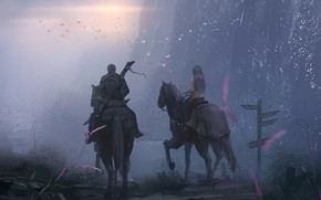 Обои girl, sword, twilight, weapon, sunset, cross, evening, boy, horses, couple, digital art, knights, artwork, warriors, ...