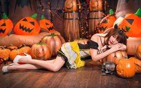Обои девушка, череп, тыквы, Хеллоуин, азиатка, милашка, 31 октября