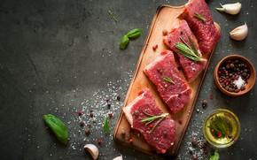 Картинка table, condiments, raw meat