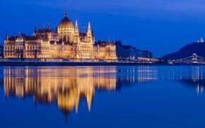 Картинка отражение, Парламент, Венгрия, Будапешт, Дунай, Цепной мост