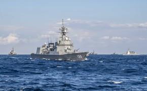 Картинка Океан, Море, Волны, Морские силы самообороны Японии, Силы самообороны Японии, Эскадренные миноносцы типа «Асахи», Сирануи …