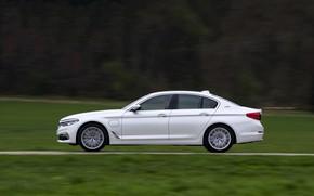 Картинка белый, BMW, профиль, седан, гибрид, 5er, четырёхдверный, 2017, 5-series, G30, 530e iPerformance