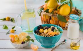 Картинка завтрак, молоко, мед, фрукты, мюсли