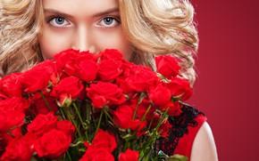 Картинка девушка, модель, розы, букет, Mykhailo Orlov