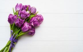 Картинка цветы, стол, букет, фиолетовые, тюльпаны, бутоны, Olena Rudo