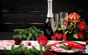 Картинка украшения, Новый Год, бокалы, Рождество, шампанское, Christmas, wood, New Year, decoration, xmas, сервировка, champagne, Merry, …