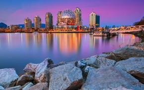 Картинка камни, дома, бухта, Канада, Ванкувер