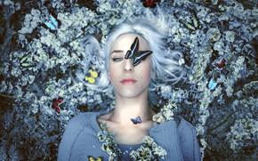 Картинка бабочки, цветы, девушка art