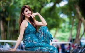 Картинка девушка, улыбка, волосы, платье, азиатка