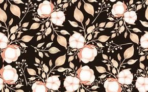 Картинка листья, цветы, фон, узор, коричневый, бутоны