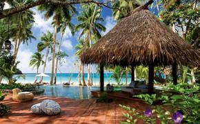 Картинка море, цветы, пальмы, отдых, бассейн, отель, бунгало, Лаукала