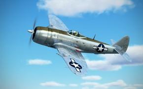 Картинка небо, облака, арт, Thunderbolt, USAF, истребитель-бомбардировщик, Republic, P-47D