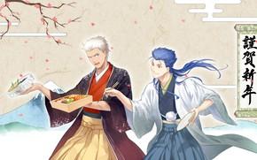 Картинка цветы, фон, япония, сакура, парни, лансер, бенто, арчер, Судьба ночь схватки, Fate / Stay Night